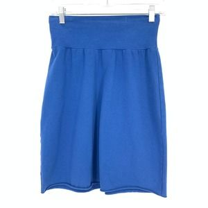 Cut Loose XS Jersey Knit Mini Skirt Blue Raw Edge